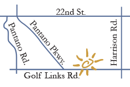 Dental Care on Golf Links is located on Golf Links between Pantano Parkway and Harrison Road, on the North side.